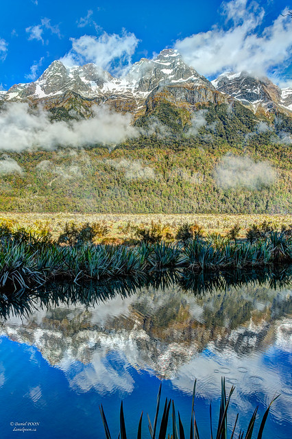 Reflection of Earl Mountain in Mirror Lake, south island, NZ