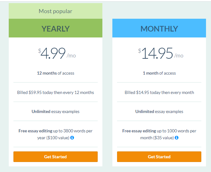 prices for mothly subscription