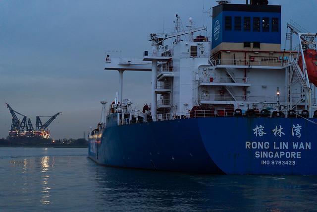 Tanker en route to open seas