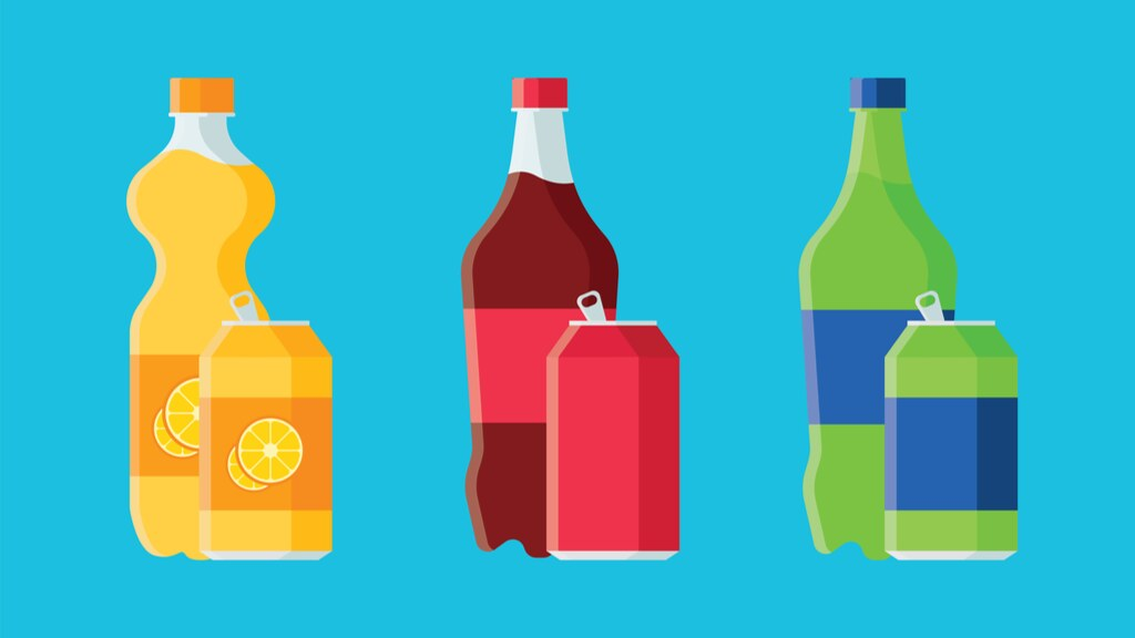 A graphic of fizzy drinks on a blue background