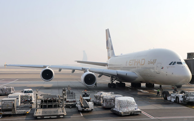 Etihad Airways A380 A6-APF parked at AUH/OMAA