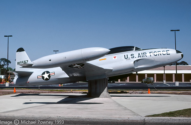 58-0567 - 1958 fiscal Lockheed T-33A Shooting Star, on display at Keesler marked as 80567