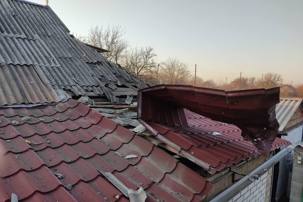 Maison endommagée à Alexandrovka