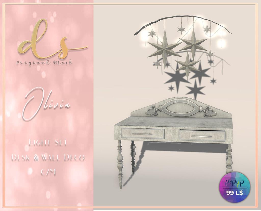DS – Olivia Desk & Wall Deco Light Set Pop up 99