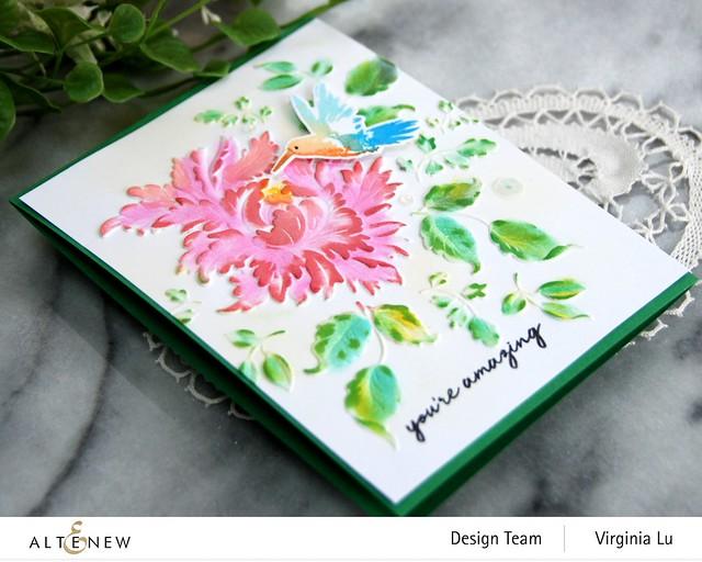 Altenew-Majestic Bloom 3D Embossing Folder-Hummingbirds Stamp & Die Bundle-003