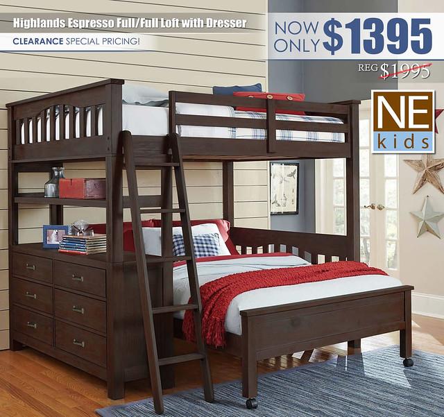 NE Kids Highlands Espresso Full Full Loft Bed with Dresser_Update