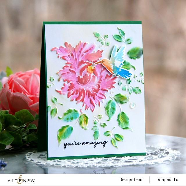 Altenew-Majestic Bloom 3D Embossing Folder-Hummingbirds Stamp & Die Bundle-001