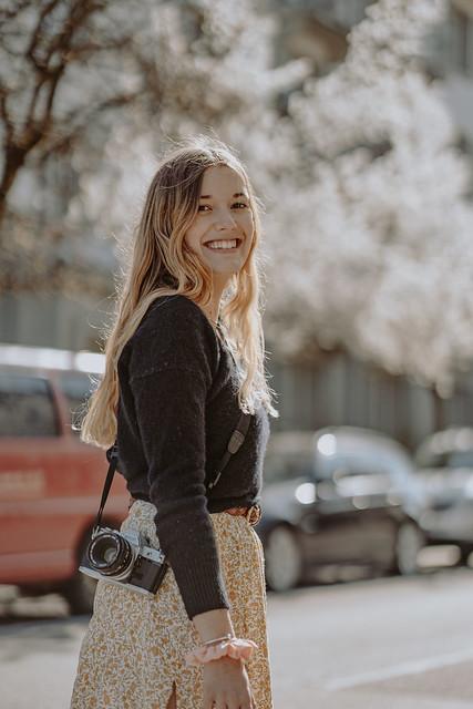 Cherry blossom street portrait