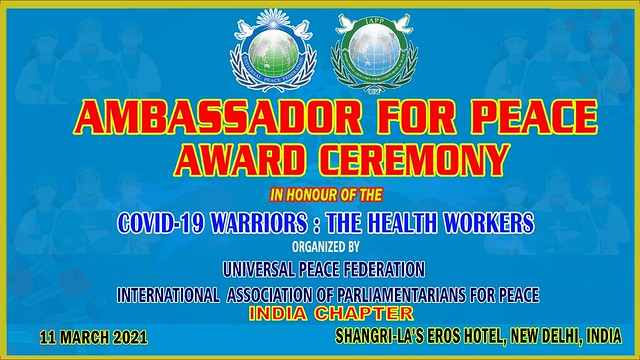 India-2021-03-11-Indian Health Workers Honored with Ambassador for Peace Award