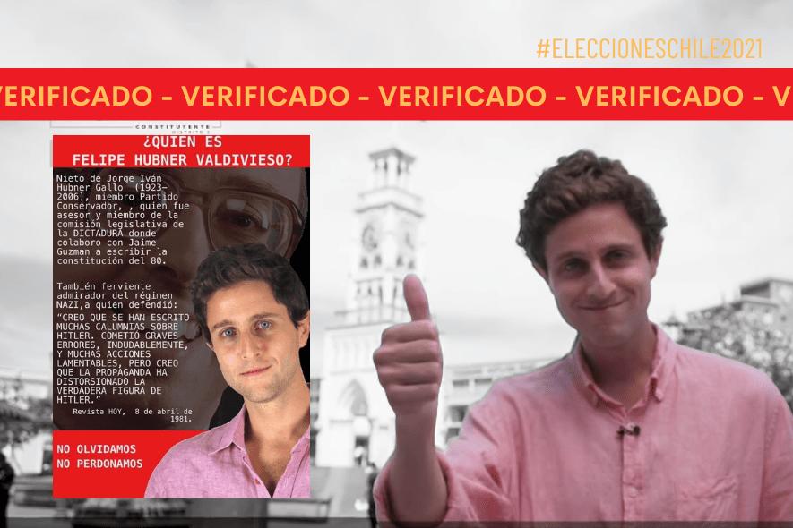 Es cierto que el candidato constituyente Felipe Hubner es nieto de un ex miembro de la comisión legislativa de la dictadura