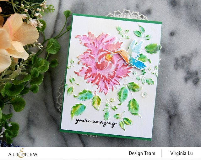 Altenew-Majestic Bloom 3D Embossing Folder-Hummingbirds Stamp & Die Bundle-004