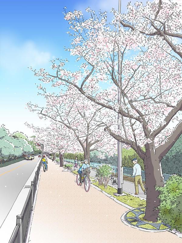 広報とよなか 2021年4月号(千里緑地沿いのサイクリングロード)