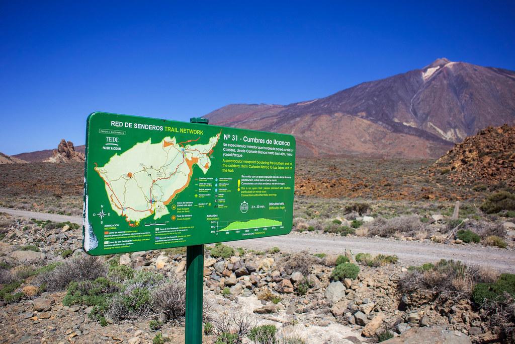 Señal del sendero 31 en el Teide