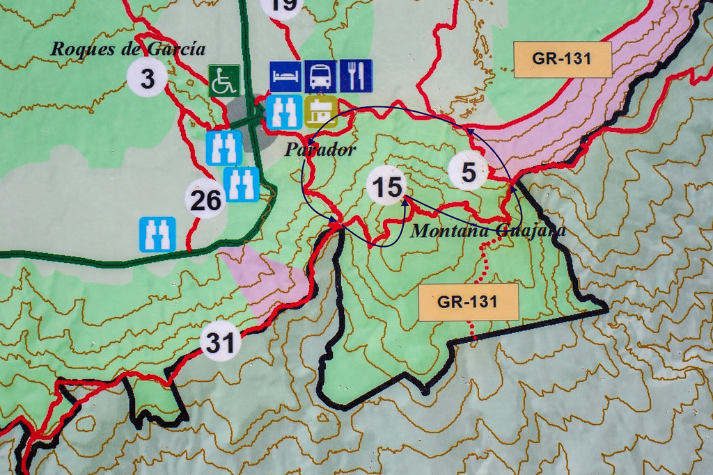 Mapa sendero circular de montaña Guajara en Tenerife