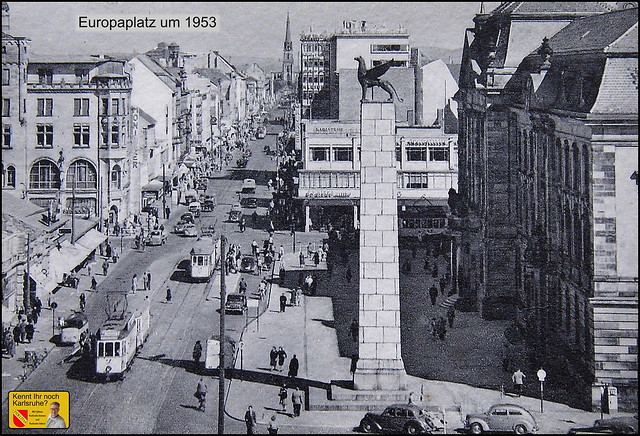KA-Um1953- Karlsruhe. Kaiserstraße Ecke Douglasstraße (Europaplatz) um 1953.