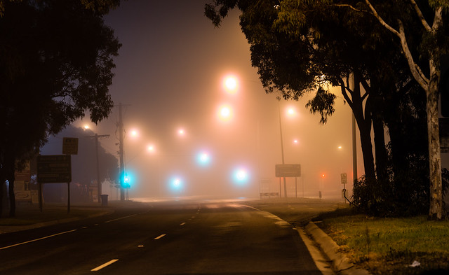 Stud Road,  2 am. Wonderful fog, always different and full of surprises