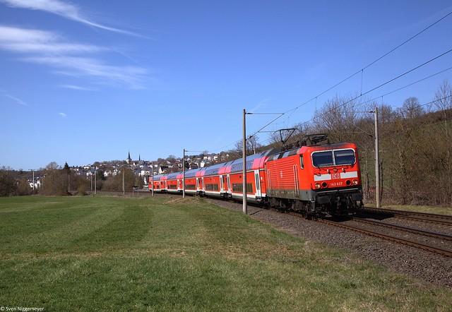 143 637 mit der RB22 (RB15267) von Limburg(Lahn) nach Frankfurt(Main) bei Oberbrechen.