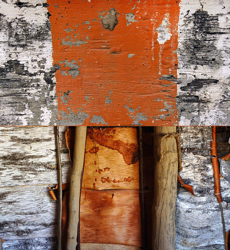 Diptych abstract of a Bronze Age wall made up of alternating panels of both the orange inner bark and the white outside bark of the birch tree, at Tanum in Sweden, compared with a mouldy wall with orange paint that is peeling, interesting in its own way