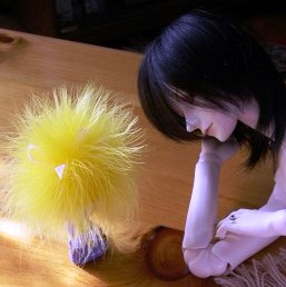 In a very old story from my BJD story days, this little one charmed my large BJD, Grimm.