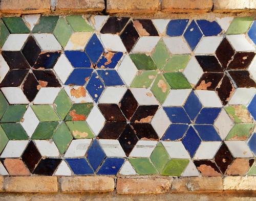 Moorish geometric tiles on a wall in Toledo, Spain