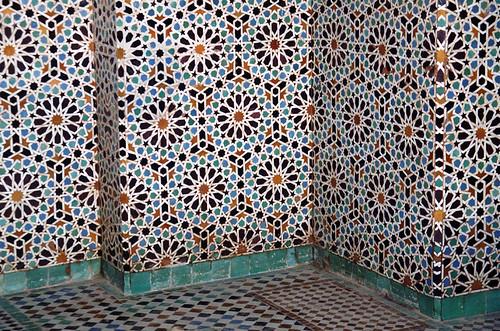 Islamic geometric tiles on a wall in Marrekesh, Morocco