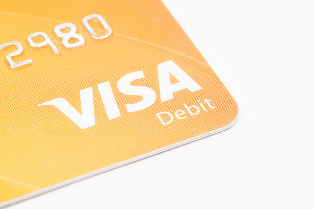 Visa credit card finance concept with copy space