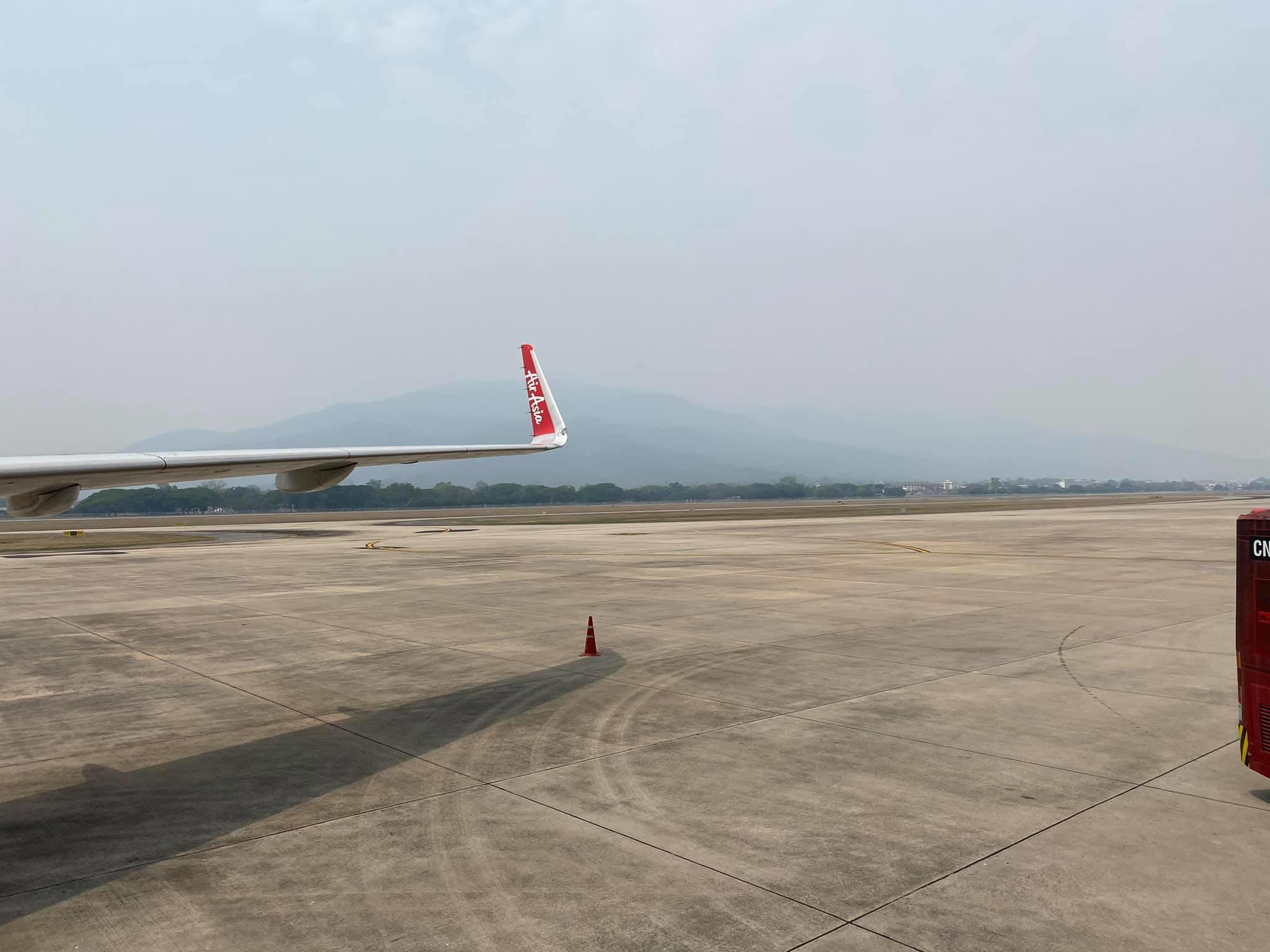 ภาพฝุ่นควันที่สนามบินเชียงใหม่ วันที่ 3 เม.ย. 2564