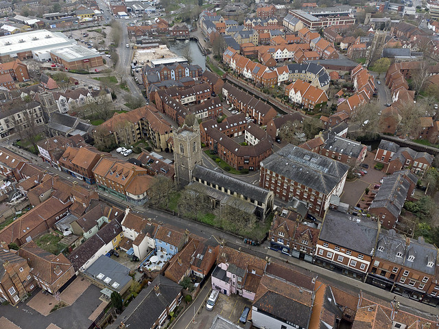 Norwich aerial image: St Laurence's - the largest of 5 medieval churches on on St Benedicts Street