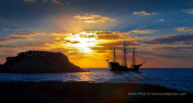 Pirates Ship sunset