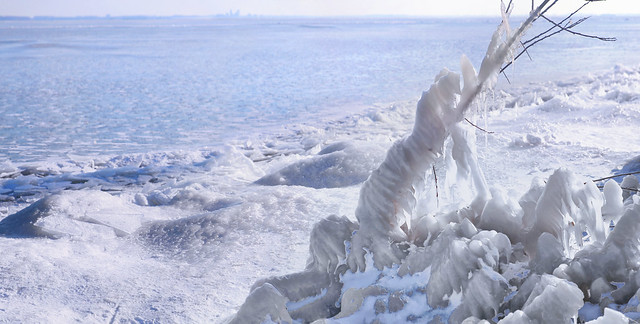 The storm wind whipped up the water, after which the frost turned it into the most beautiful sculptures