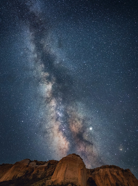 View of the Milky Way over La Ventana Arch in El Malpais National Monument near Grants, New Mexico