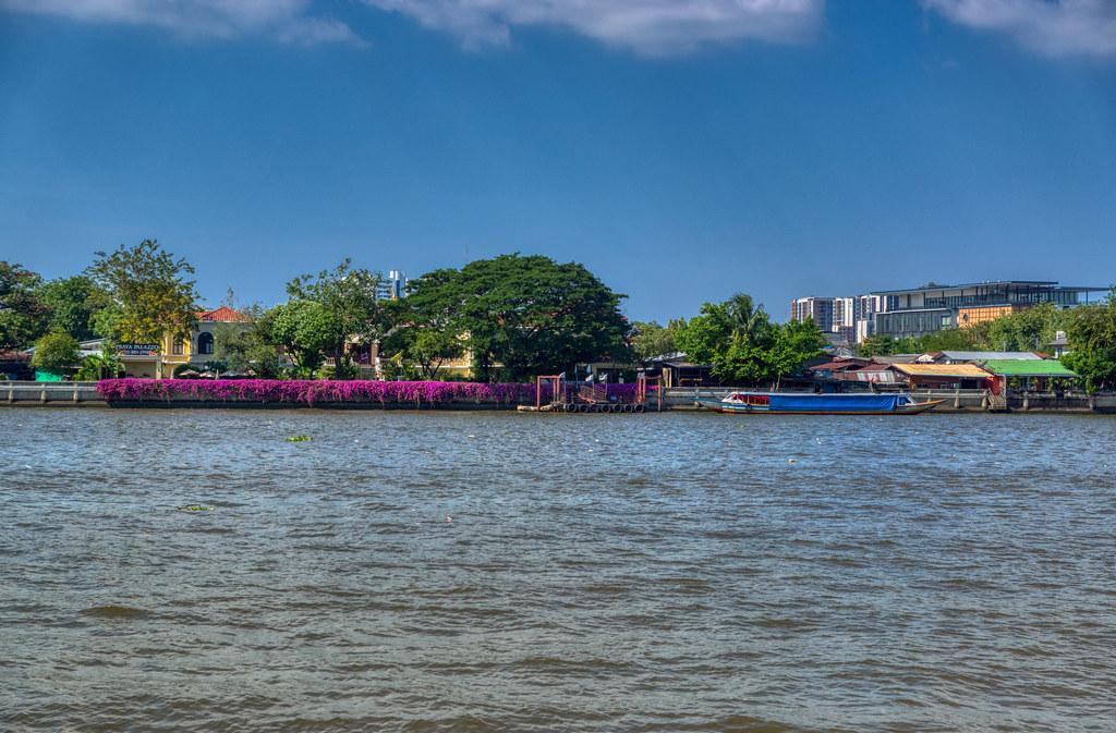 Chao Phraya river flowing through Bangkok, Thailand