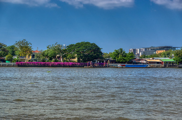 Chao Phraya river flowing through Bangkok, Thailand