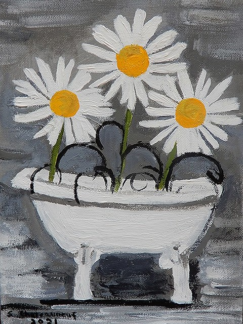 Tub Of Daisies - Acrylic Painting by STEVEN CHATEAUNEUF (2021)