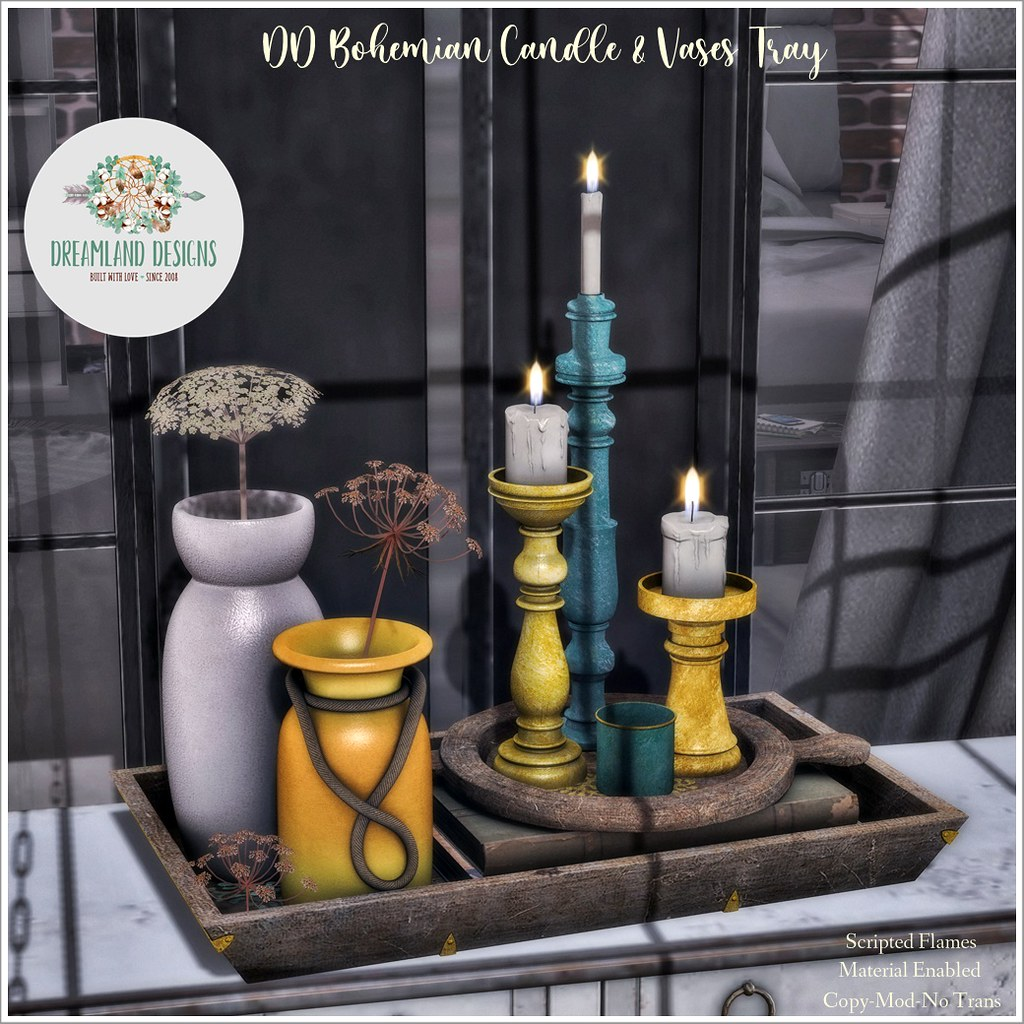 DD Bohemian Candle & Vases Tray AD