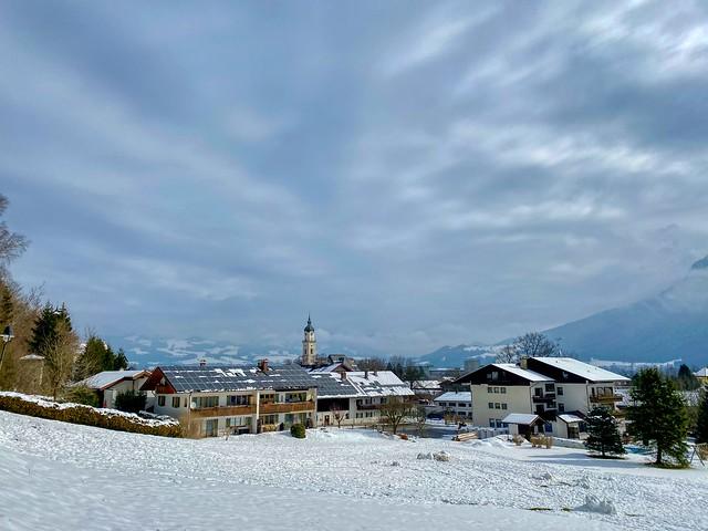 Winter view of Kiefersfelden in the river Inn valley in Bavaria, Germany