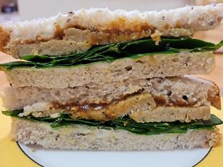 Leftover Coles roast and chutney sandwich