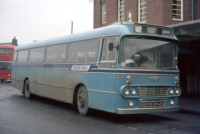Premier Travel Services . Cambridge . 210 OVE233J . Derby Bus Station , Derbyshire . December-1973 .