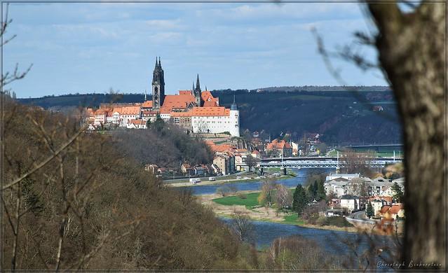 Blick von Batzdorf zur Albrechtsburg Meißen
