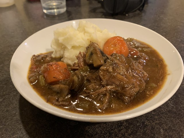 Beef stew and mashed potatoes.