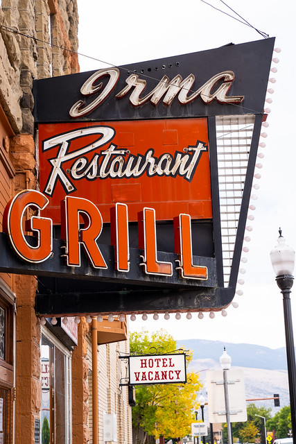 Cody, Wyoming - September 25, 2020: Sign for the Irma Restaurant and grill in the downtown area