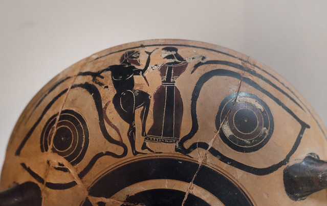 Athenian Black Figure eye-cup with dancing silen and maenad, from Chiusa Cima