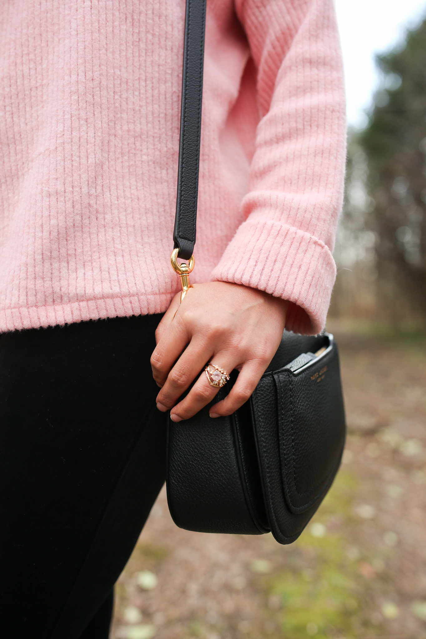 Priya the Blog, Nashville fashion blog, Nashville fashion blogger, Winter outfit, Winter style, how to style a pink sweater, how to style white combat boots, white combat boots, Spanx velvet leggings, how to style Spanx velvet leggings, velvet leggings outfit, personal style uniforms