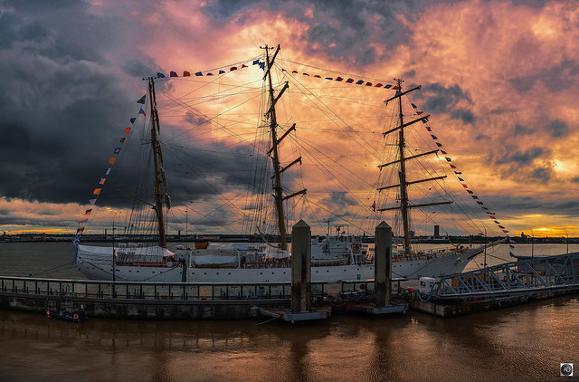 ARA Libertad berthed in Liverpool, Summer 2016.