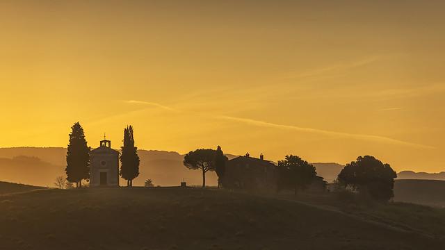 Sunrise at the Chapel of the Madonna di Vitaleta, Tuscany, Italy