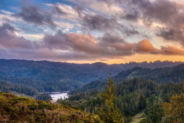 Cloudy sunset over Alpine Lake and Bolinas Ridge