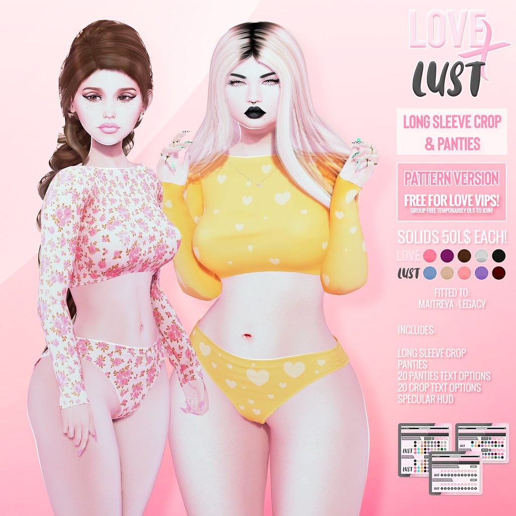 LOVE X LUST [COLLAB #2 + VIP Gift] – Long Sleeve Crop + Panties @ The Main Store!