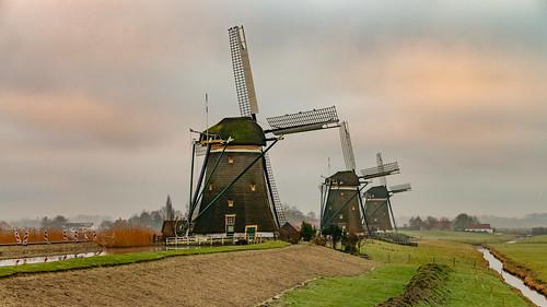 europe europa nederland thenetherlands holland dutch landscape architecture molenviergang leidschendam windmill mill molen polder landschap mist fog morning sunrise water