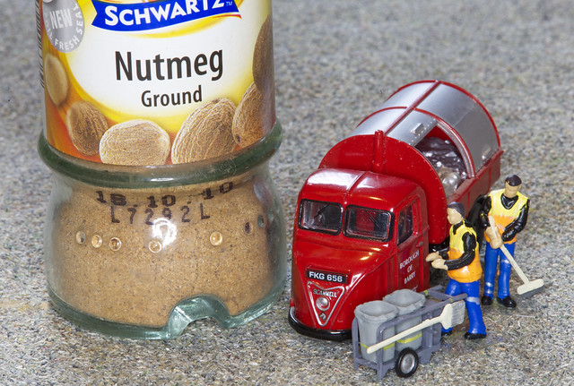 The refuse collectors were astounded to find a jar of nutmeg with an expiry date of 18/10/2010.      IMG_5600
