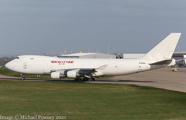 N702CK - 2000 build Boeing B747-4B5F, taxiing for departure on Runway 09 at East Midlands